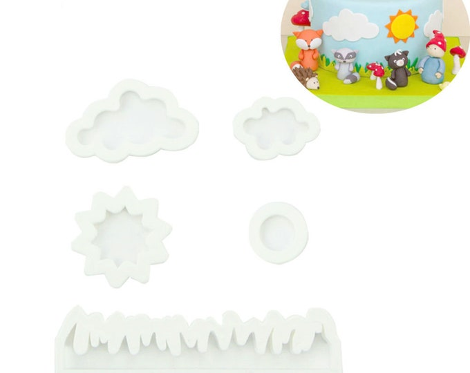 Sky Sun Cloud Grass 5 pc Cookie Cutter Set - AM1310 - Banner Streamer Mold Party Biscuit Fondant Sugar Cutter Moon