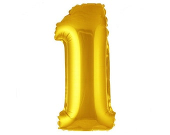 "Gold 40"" inch Foil First Birthday Giant Balloon - Jumbo Number 1 Balloon"