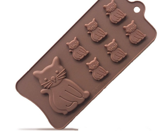 Cat Silicone Mold - E247 Baking Fondant Candy Royal Icing Soap Chocolate Kitten Kitty Meow