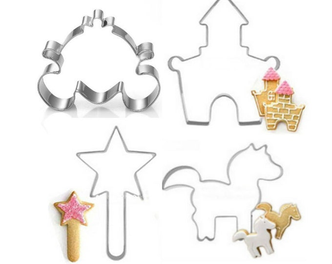 Princess Cookie Cutter 4pc Set Cutter Fairytale Castle Magic Wand Unicorn Pumpkin Carriage Cinderella CX-216 Party Fondant