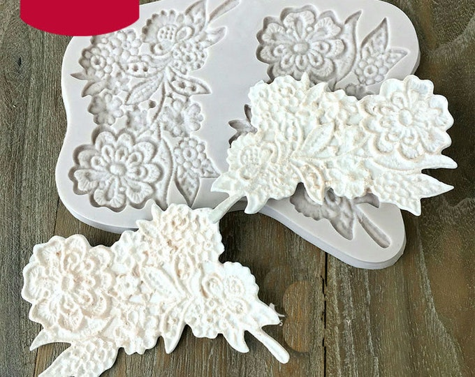 European Flower Pattern Fabric Lace Border Silicone Mold - M2989 -  Baking Fondant Candy Royal Icing