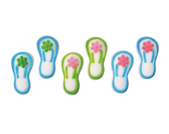 12 Flip Flops Assortment Molded Sugar Cake / Cupcake Topper Decorations