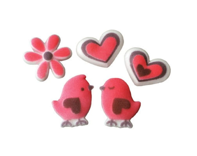 12 Love Birds Edible Molded Sugar Cake / Cupcake Topper Decorations Love Birds Heart Flower