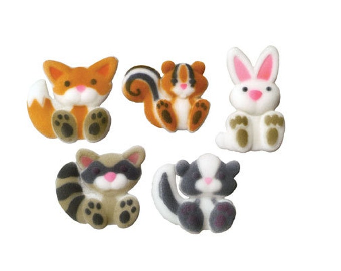 12 Woodland Creatures Molded Sugar Cake / Cupcake Topper Decorations