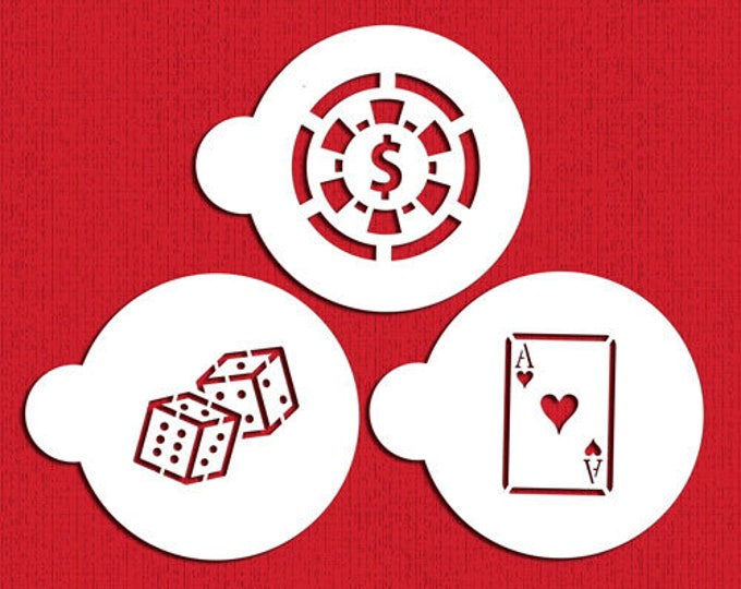 Casino Poker Stencil Set - MJ-S165 -  Cookies Cupcakes Cakes Decorations Dice Ace Cards Chip Gamble