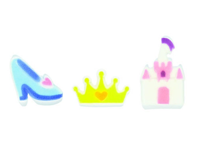 12 Princess Assortment Molded Sugar Cake / Cupcake Topper Decorations castle tiara crown glass slipper
