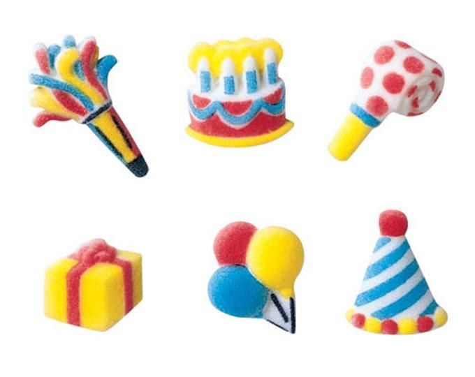 34 Mini Birthday Assortment Molded Sugar Cake / Cupcake Topper Decorations cake present gift hat balloons