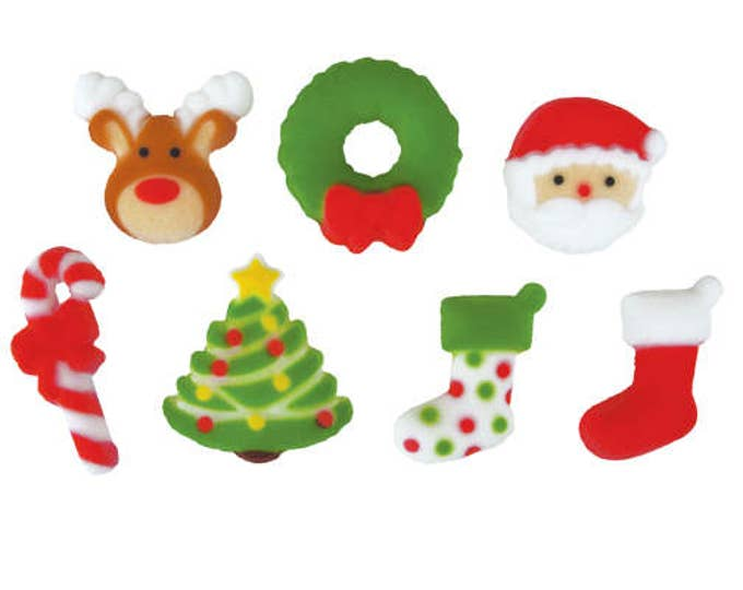 20 Christmas Holly Jolly Assortment Edible Molded Sugar Cake / Cupcake Topper Decorations - Reindeer Wreath Candy Cane Tree Stocking Santa
