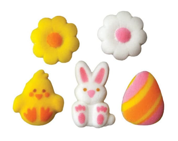 16 Lovable Easter Assortment Edible Molded Sugar Cake / Cupcake Topper Decorations Chick Bunny Rabbit Easter Egg Gerbera Flowers Daisy