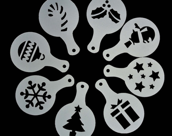 Coffee Dusting Art 8 pc Holiday Stencil Set - 54029 - Cappucino Mold Fancy Printing Cookie Cake Fondant Round Decorating