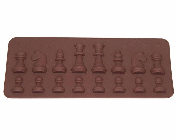 Chess Pieces Small Silicone Mold - Baking Fondant Candy Royal Icing Soap Chocolate King Queen Set Rook Pawn Knight Bishop