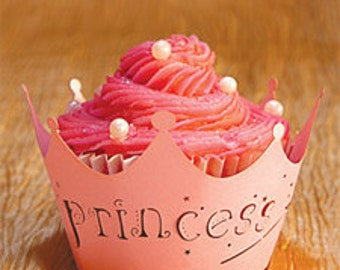SALE 12 pc Pink Princess Laser Cut Cupcake Wrapper Shimmer Pack - Diva Princess Birthday Party Pink