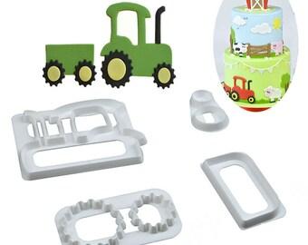 Tractor Cookie Cutter Set - SLH519 - Banner Streamer Mold Party Biscuit Gumpaste Fondant Sugarcraft Sugar Cutter