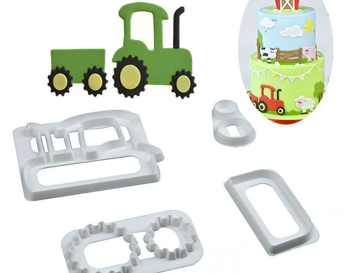 Tractor Cookie Cutter Set - SLH519 - Banner Streamer Mold Party Biscuit Gumpaste Fondant Sugarcraft Sugar Cutter