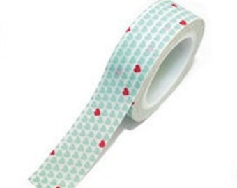 SALE Washi Tape - 1 pc - Blue White Polka Dot Pink Hearts - Paper Deco Tape