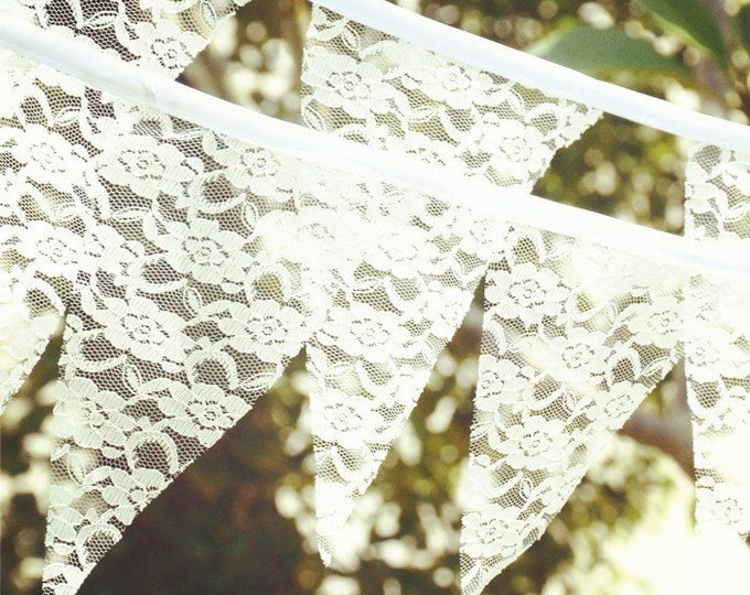 Vintage Style White Lace Flag Bunting Banner - Wedding baby shower Kids Birthday Party Decorations Supplies