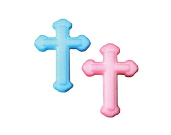 12 Small Cross Molded Sugar Cake / Cupcake Topper Decorations Christenings Baby Shower Religious