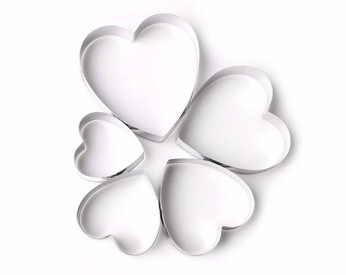 5 pc Heart Cookie Cutter Set - Party Biscuit Fondant Sugar Cutter