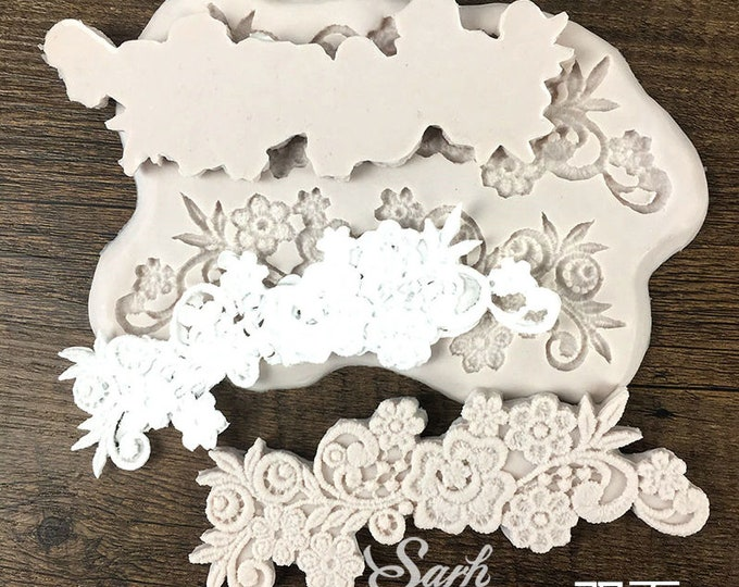 European Flower Pattern Fabric Lace Border Silicone Mold - M2988 -  Baking Fondant Candy Royal Icing