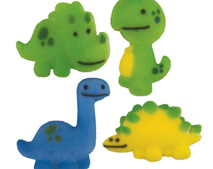 15 Jurrassic Jamboree Dinosaur Molded Sugar Cake / Cupcake Topper Decorations Birthday Parties Baby Showers