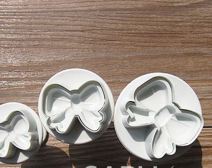3 pc Cookie Cutter Plunger Mold Set - SLH085 - Bow Knot Candy Fondant Cutter