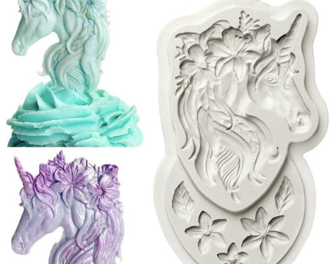 Unicorn Silicone Mold CE407 - Baking Fondant Soap Chocolate Candy Jelly Magical Flower Eyes Ears Horn