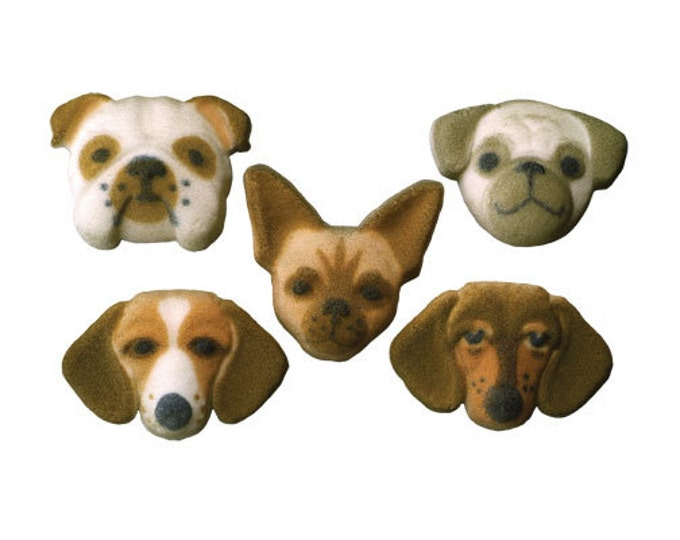 12 Puppy Dog Doggy Assorted Molded Sugars Cake / Cupcake Topper Decorations