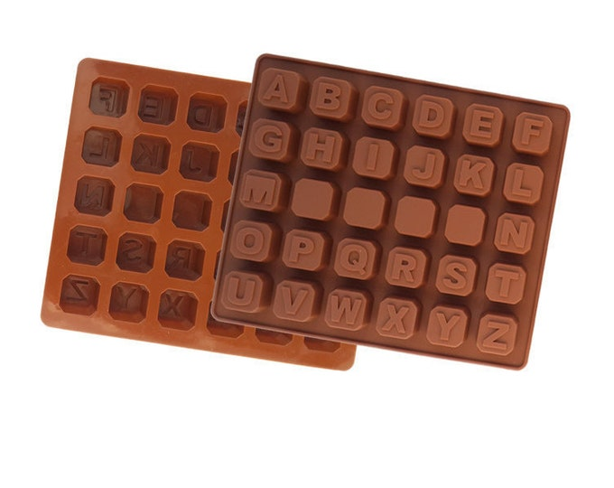 SALE Alphabet Letters Silicone Mold - Chocolate Baking Soap Fondant Ice