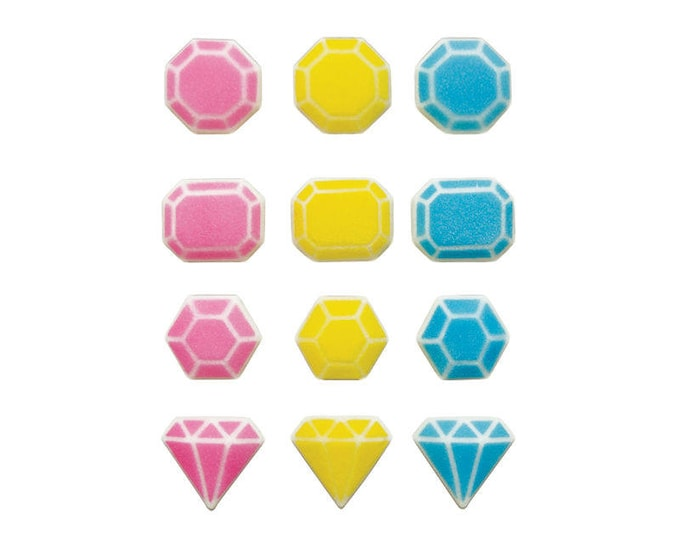 16 Fabulous Gems Assorted Molded Sugar Cake / Cupcake Topper Decorations Jewels Diamond Sapphire Emerald Ruby