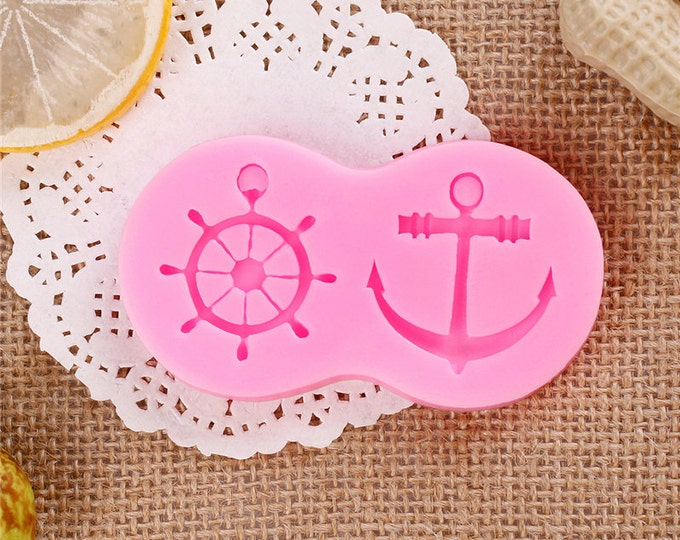Nautical Sailor Silicone Mold - M-0785 - Baking Fondant Ice Anchor Wheel Ship