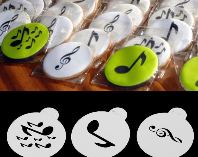 3 pc Music Notes Stencil Set - MJ-S173 - Cookies, Cupcakes & Cakes Design Decorations Song Artist Writer Singer Piano Instrument