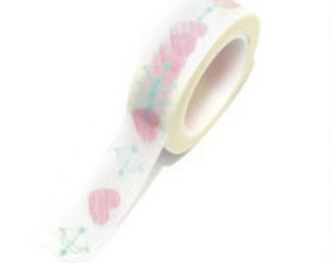SALE Washi Tape - 1 pc - Pink Hearts Bow and Arrow - Paper Deco Tape