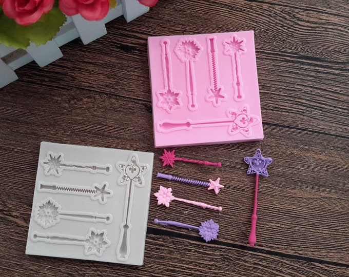 Magic Wands Silicone Mold - XL352 - Baking Fondant Soap Chocolate Candy Jelly Princess Fairy Fairytale Godmother
