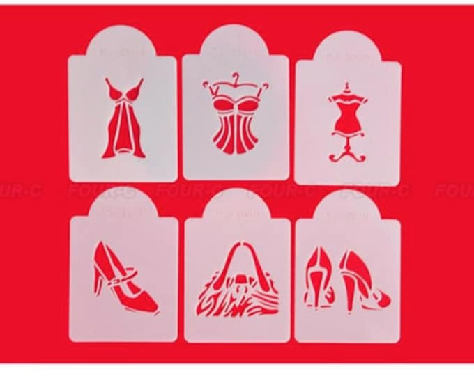 Fashion Stencil Set for Cookies, Cupcakes & Cakes - 568 - Fashionista Diva Dress Form Shoes Purse Handbag Pumps Heels Lingerie Design Gown