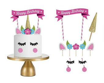 Unicorn Cake Topper Picks Decoration