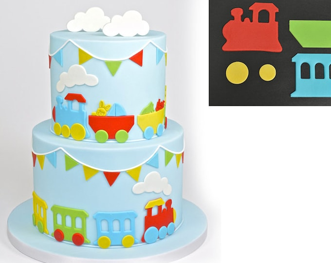 Train Cookie Cutter Set - SLH516 - Banner Streamer Mold Party Biscuit Gumpaste Fondant Sugarcraft Sugar Cutter