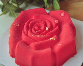Rose Mousse Silicone Mold - CT457 - Baking Cake Tart Tarte Fondant Soap Chocolate Candy Jelly Flower Red