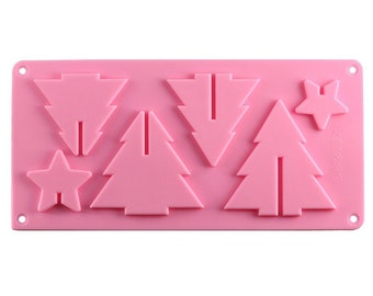 3D Christmas Tree Silicone Mold - Baking Fondant Soap Chocolate Candy Jelly Holiday Winter Celebration Cookie Star