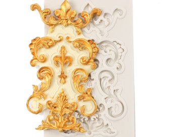 Lace Scroll Vintage Style Silicone Mold - M7908 -  Baking Fondant Candy Royal Icing
