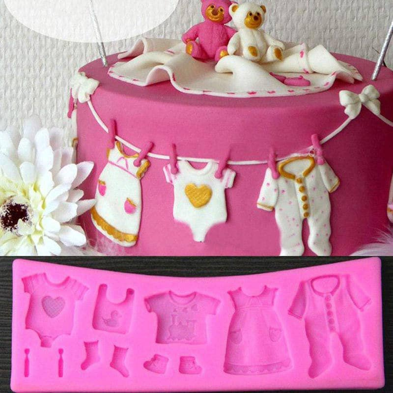 Baby Shower Clothesline Silicone Mold Rd 025 Baking Fondant