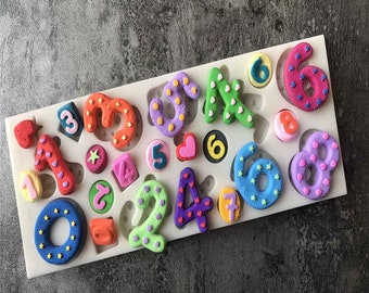 Numbers Silicone Mold - Baking Fondant Happy Birthday Party Cupcake Number Whimsical