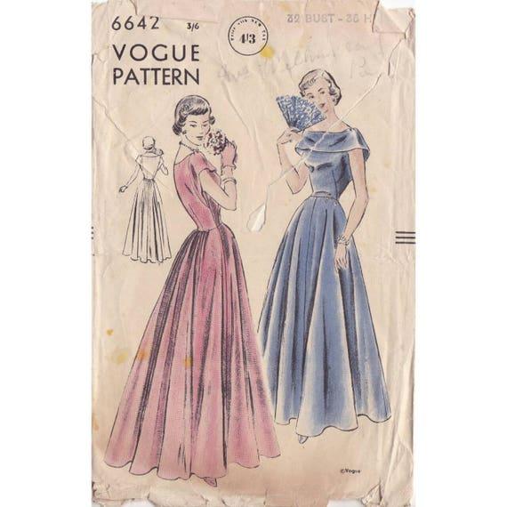 de los 50 patrones de costura vestido vogue 6642 busto 32   Etsy