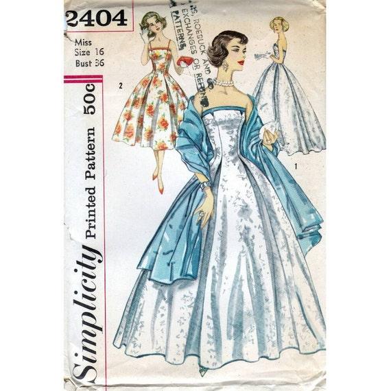 de los 50 patrones de costura simplicidad vestido 2404 Busto | Etsy