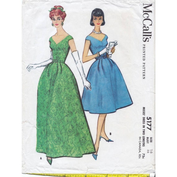 50s McCall\'s dress sewing pattern 5177 Bust 36 inches | Etsy