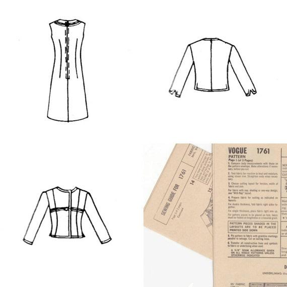 años 60 patrones vogue Couturier diseño vestido y chaqueta | Etsy