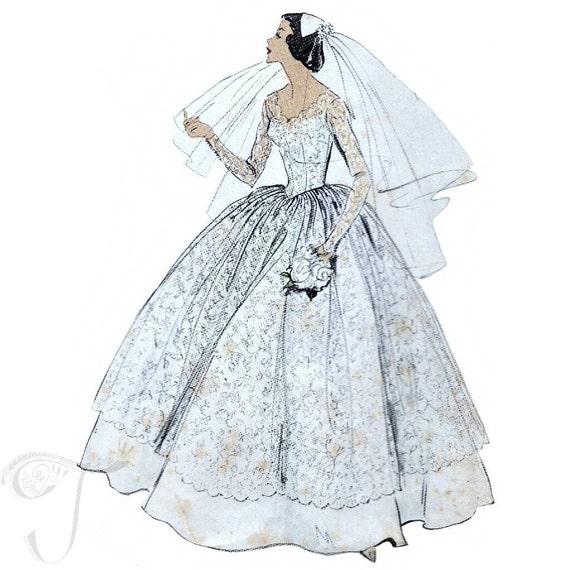 años 50 patrón de costura de vestido de boda vogue 9084 busto | Etsy