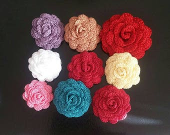 Crochet Rose Pin/Barrette