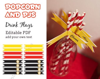 Popcorn and PJs Flags - editable PDF - add your own text