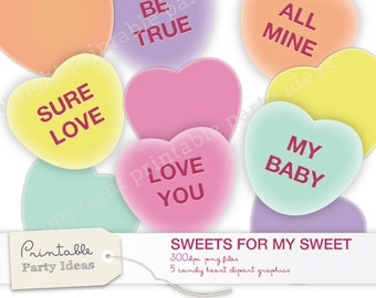 Candy Heart Clip Art digital files, 5 messages, 5 blank. 300dpi .png