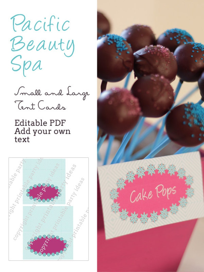 Pacific Beauty Spa Tent Cards  editable PDF  add your own image 0